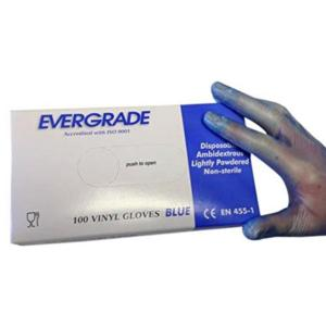 0254 Blue Powdered Vinyl Gloves